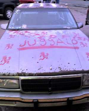 "Juggalo - A car painted with a reproduction of the Psychopathic Records logo and the word ""Juggalo"", a name given to fans of Insane Clown Posse and Psychopathic."
