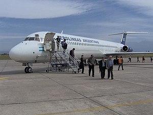 Gobernador Horacio Guzmán International Airport - An Aerolíneas Argentinas MD-83 deplaning at Guzmán Airport