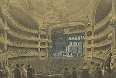 Jules Arnout's lithograph of Act 3 scene 2 of Robert (the 'Ballet of the Nuns') at the Paris Opéra (Salle Le Peletier), 1831 (Source: Wikimedia)