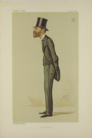 "Julian Goldsmid - ""St Pancras"". Caricature by Ape published in Vanity Fair in 1887."
