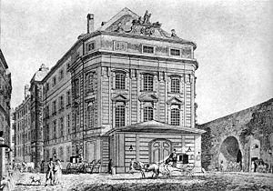 Parterre (theater audience) - 1830 illustration of Vienna's Kärntnertor theater.