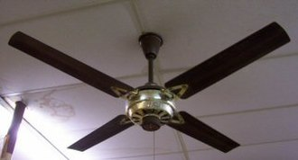 """KDK - This unusual ceiling fan was a rare and poorly organized fail-sales attempt of an imported KDK ceiling fan which was relabeled """"RoyalAire By KDK"""" by then distributor Sumitomo America in the decade of the 1980s for the United States."""
