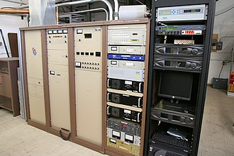 FM broadcasting - A commercial 35 kW FM radio transmitter built in the late 1980s.  It belongs to FM radio station KWNR in Las Vegas, Nevada, and broadcasts at a frequency of 95.5 MHz.