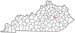 Location of Irvine, Kentucky