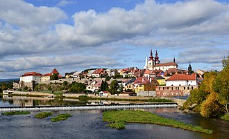 Kadaň - Panorama of the town with the Eger River