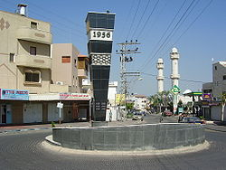 Monument in Kafr Qasim tae the victims o the massacre in 1956.