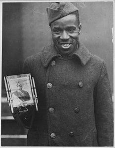 Kaiser's picture as a talisman. Corporal Fred McIntyre, known as Devil's Man, just returned with 36 . . . - NARA - 533516.jpg