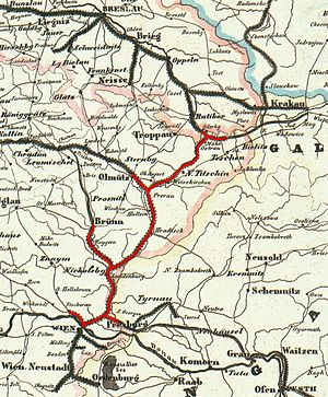 Franz Xaver Riepl - Nordbahn railway lines (red) in 1849