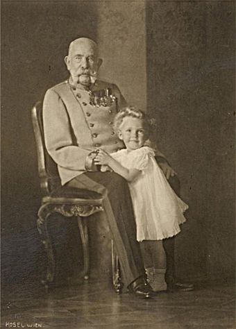 The emperor and his great-grandnephew Otto von Habsburg, in 1914 Kaiser Franz Joseph I. and Otto (15.09.1914).jpg