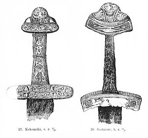 Karelia (historical province of Finland) - Drawing of Karelian Iron Age sword hilts by Theodor Schwindt made in 1893, which he had excavated earlier in Käkisalmi.