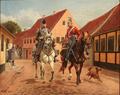 Karl Hansen Reistrup, En dansk dragon med en tilfangetagen preussisk husartrompeter i Århus' gader under 1. Slesvigske Krig, 1910.png