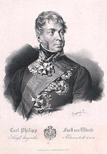 Carl Philipp von Wrede (Lithographie von Franz Hanfstaengl, 1828) (Quelle: Wikimedia)