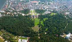 The town centre of the city of Karlsruhe (Germany) photographed from an aeroplane. It is easy to recognize the historic layout of the town: The streets head away from the palace like the rays of the sun.