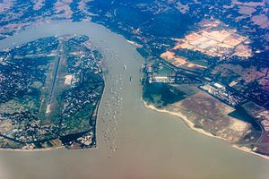 Karnaphuli River - Aerial view of the Karnaphuli River estuary