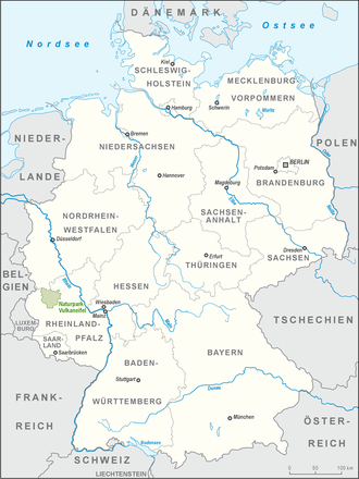Volcanic Eifel Nature Park - Location of the Volcanic Eifel Nature Park in Germany