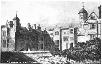 Kentwell Hall - Engraving of Kentwell Hall in 1823, three years before the fire that destroyed much of the central part of the house