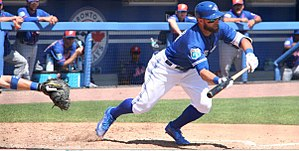 Kevin Pillar - Pillar squaring for a bunt during 2016 spring training.