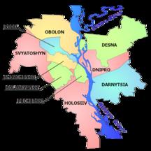 基輔-行政區劃-Kiev map english