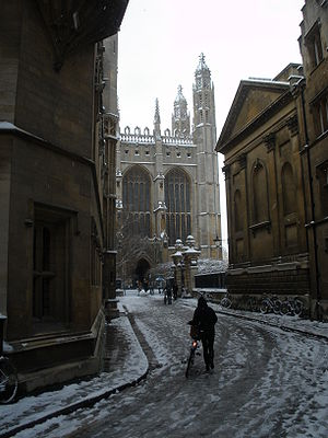 Trinity Lane - King's College Chapel in the snow at the end of Trinity Lane with Clare College on the right.