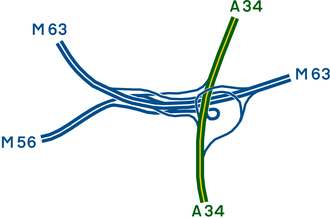 M63 motorway - The layout of the Kingsway Interchange which opened in 1974 as part of the Sharston bypass scheme, originally junction 10 of the M63, with the M63 since having been renumbered to M60.