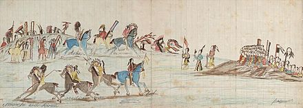 Ledger drawing depicting a meeting between a Kiowa-Comanche war party and a Pawnee war party (right side). - Kiowa
