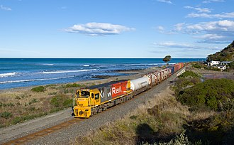 New Zealand DX class locomotive - DXC 5241 hauling a Christchurch to Picton mixed freight train at Oaro