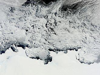 Knox Coast - NASA MODIS satellite image of Knox, Budd and Sabrina coasts