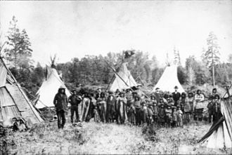 Kootenay River - Kootenai group with tepees, circa 1900
