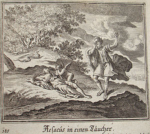 Aesacus -  Aesacus and Hesperia, engraving by Johann Ulrich Krauss for a 1690 edition of Ovid's Metamorphoses Book XI, 771-776.