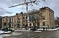 Kulturhistorisk Museum, Frederiks gate 2, Oslo, Norway. Art Nouveau, Karl August Henriksen & Henrik Bull 1902, opened 1904. Snow, pedestrian crossing, construction crane.2017-12-14 01.jpg