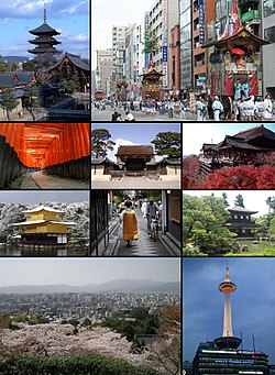 From top left: Tō-ji, Gion Matsuri in modern Kyoto, معبد فوشیمی‌ایناری, Kyoto Imperial Palace, Kiyomizu-dera, کین‌کاکوجی, Ponto-chō and Maiko, Ginkaku-ji, Cityscape from Higashiyama and Kyoto Tower