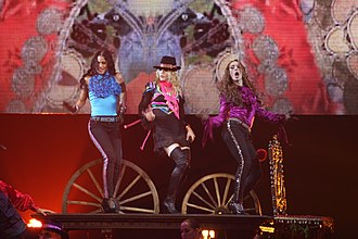 "La Isla Bonita - Madonna and her dancers during the performance of ""La Isla Bonita"" on the Sticky & Sweet Tour in 2008."