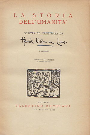 Valentino Bompiani - Frontispiece to Hendrik Willem Van Loon's translation of The Story of Mankind.