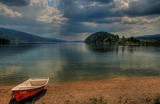Lac de Joux lake in the Vallée de Joux in the Canton of Vaud, Switzerland