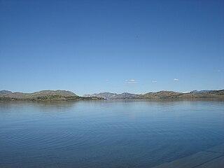 Lake Laberge lake in Yukon, Canada
