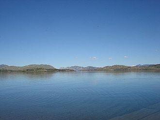 Lake Laberge - Lake Laberge in August 2010; picture taken from campground