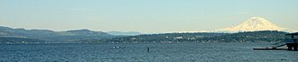 Lake Washington - Lake Washington, looking southeast toward Mercer Island with Mount Rainier in background.