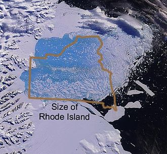 Larsen Ice Shelf - An image of the collapsing Larsen B Ice Shelf and a comparison of this to the U.S. state of Rhode Island.