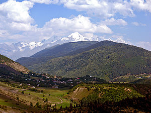 Tetnuldi - Tetnuldi rising above the village Latali