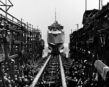 Launch of USS Johnston (DD-557) at Seattle-Tacoma Shipbuilding, Washington (USA), on 25 March 1943 (NH 63496).jpg