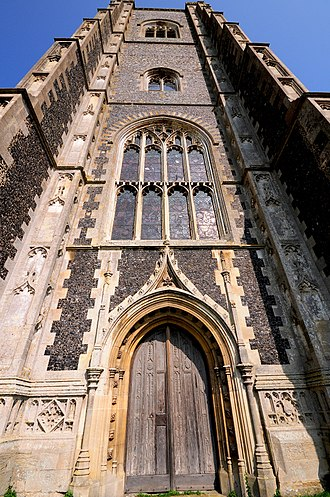 St Peter and St Paul's Church, Lavenham - The tower from the west