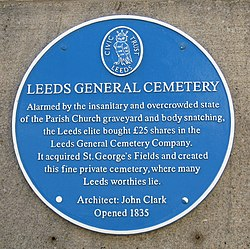 Photo of John Clark and Leeds General Cemetery blue plaque