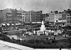 Leicester Square - Leicester Square in 1880, looking north east.
