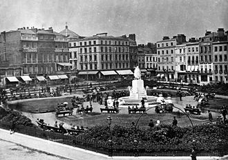 Leicester Square - Leicester Square in 1880, looking north east