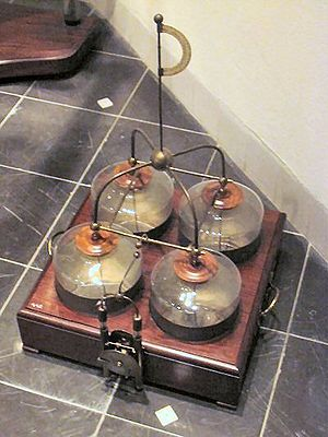 History of the battery - A battery of linked glass capacitors (Leyden jars)