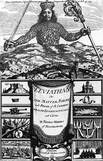 """Darwin's Dangerous Idea - The frontispiece to Thomas Hobbes' Leviathan, which appears at the beginning of chapter 16 """"On the Origin of Morality""""."""