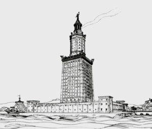 Lighthouse of Alexandria - Drawing by archaeologist Hermann Thiersch (1909)