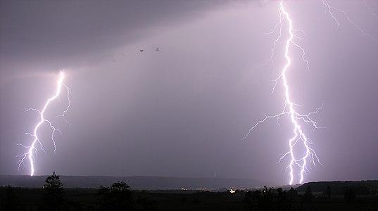 Lightning over Schaffhausen, Switzerland.