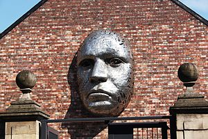 Lincoln Drill Hall - Sculpture on the exterior wall by Rick Kirby