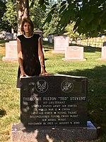 Lisa Murkowski at the grave of Ted Stevens.jpg